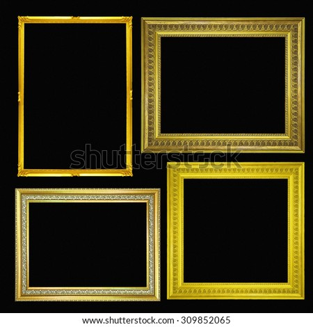 gold picture and photo frame. Isolated on black background