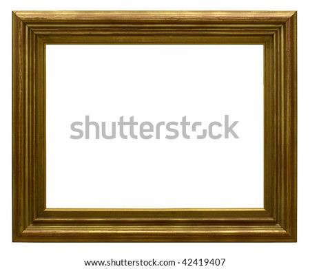 Gold picture frame and photo on a white background.