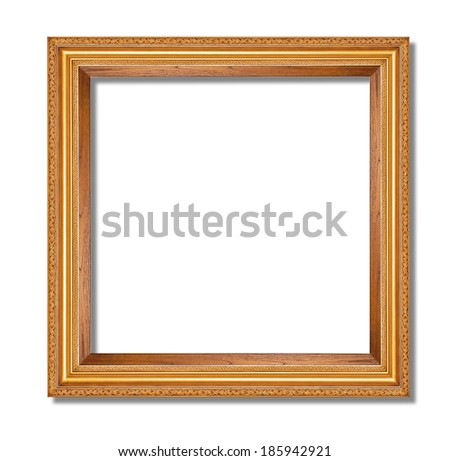 gold picture frame isolate on white back ground