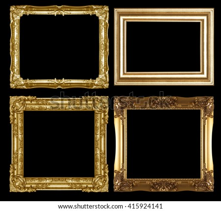 gold picture frame isolated on a black  background. - stock photo