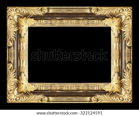 gold picture frame. Isolated on black background