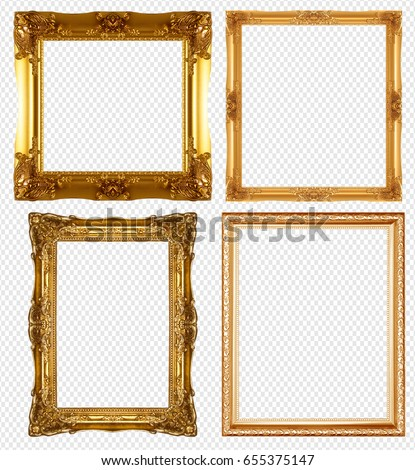 Gold Picture Frame Isolated On Transparent Stock Photo Edit Now Shutterstock
