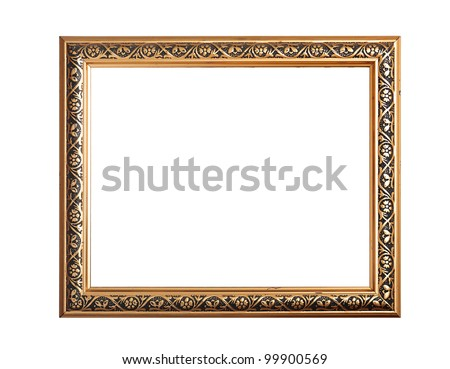 gold picture frame isolated on white - stock photo