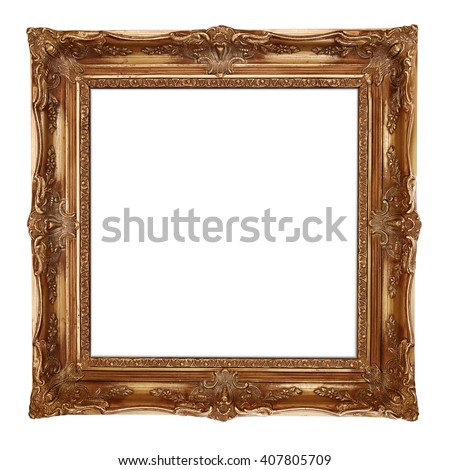 Gold picture frame, isolated on white background - stock photo