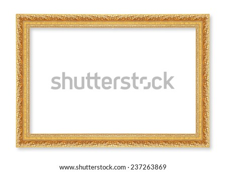 gold picture frame. Isolated on white background ; antique golden frame isolated on white background - stock photo