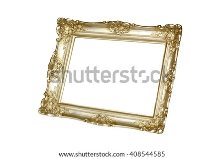 Gold picture frame isolated on white background with clipping path. - stock photo