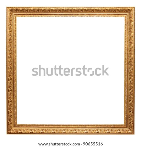 gold picture frame isolated on white with clipping path. - stock photo