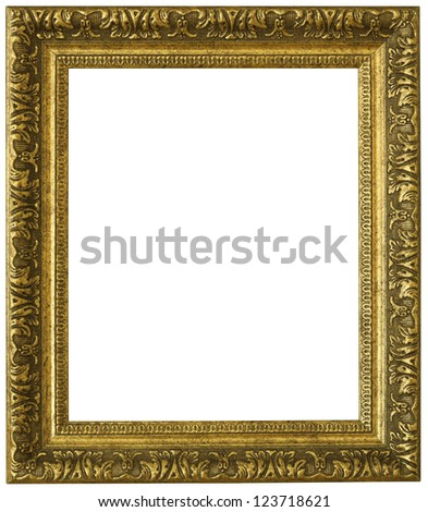 Gold picture frame. Isolated patch and over white background - stock photo