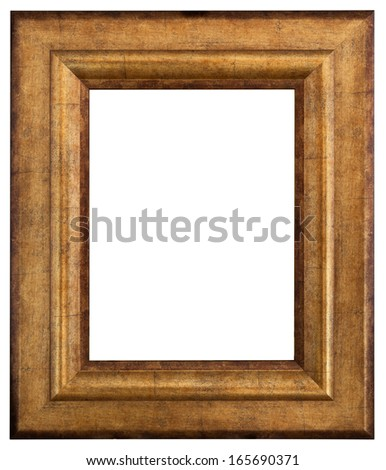 Gold picture frame. Isolated path and over white background  - stock photo