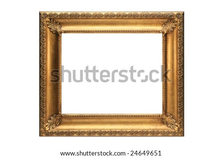 Gold Picture Frame on a white background - stock photo