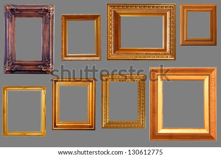 gold picture frame set  the white background. - stock photo