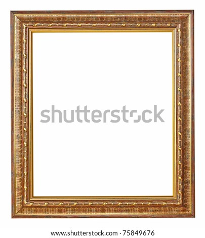 Gold picture frame with a decorative pattern - stock photo