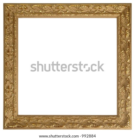 Gold picture frame with path - stock photo