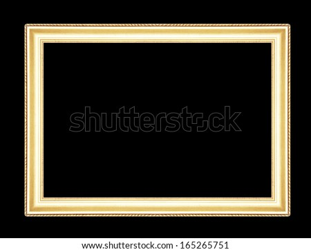 Gold picture frames. Isolated on black background - stock photo