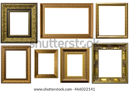 gold picture frames. Isolated over white background with clipping path