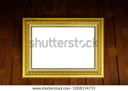 Gold Picture Frames On Wooden Thai Stock Photo (Royalty Free ...