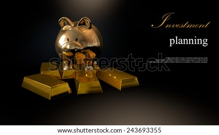 Gold piggy bank and stacked coins against a black background.Concept image for financial planning. Copy space.  - stock photo