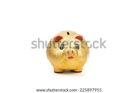 gold piggy bank isolated on white. - stock photo