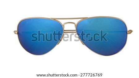 gold pilot sunglasses  - stock photo