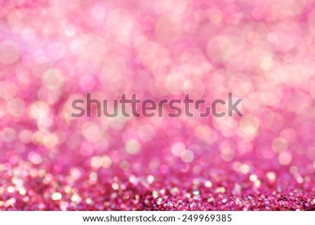 Gold pink nuggets sparkling carpet. Close-up view, very shallow deep of field . Macro. - stock photo