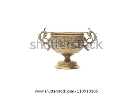 Gold pirate bowl isolated on white background