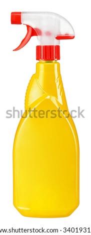 Gold plastic dispenser / studio photography of spray multipurpose cleaner - isolated on white background - stock photo