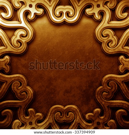 Gold plate with classic ornament - stock photo