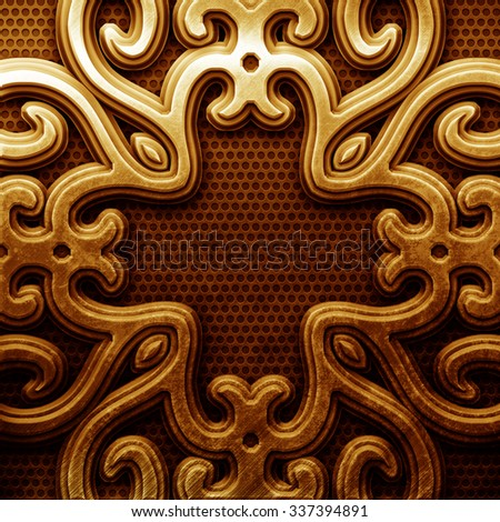 Gold plate with classic ornament on metal grid - stock photo