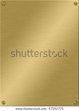 Gold plate with screws. - stock photo