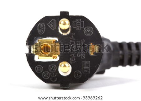 Gold plated power plugs isolated on white - stock photo