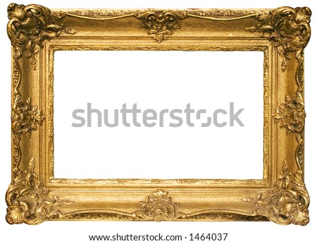 Gold Plated Wooden Picture Frame w/ Path (Wide) - stock photo
