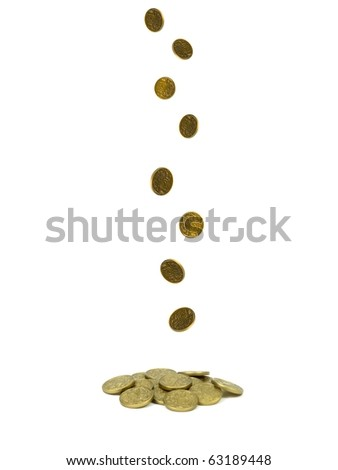 Gold play money isolated against a white background
