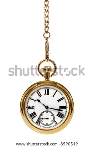 Gold pocket watch and chain, isolated on a white background. - stock photo