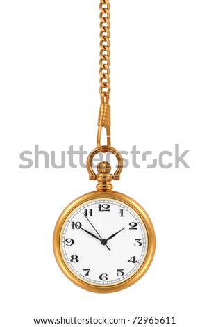 Gold pocket watch and chain, isolated on the white background, clipping path included. - stock photo