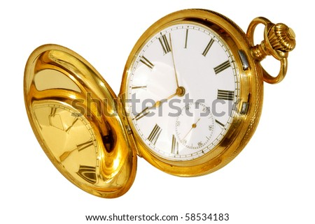Gold pocket watch isolated on white background - stock photo