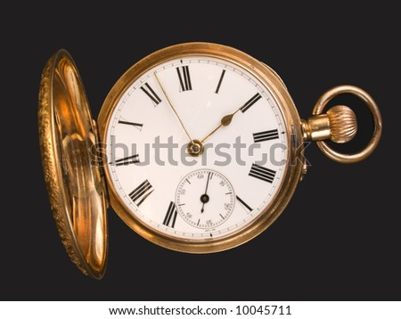 Gold pocket watch with open hunter case - stock photo