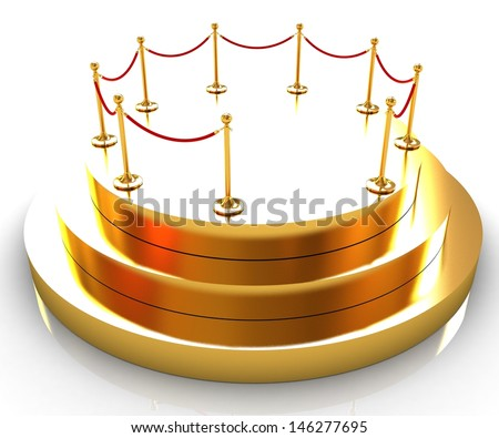 gold podium 3d - stock photo