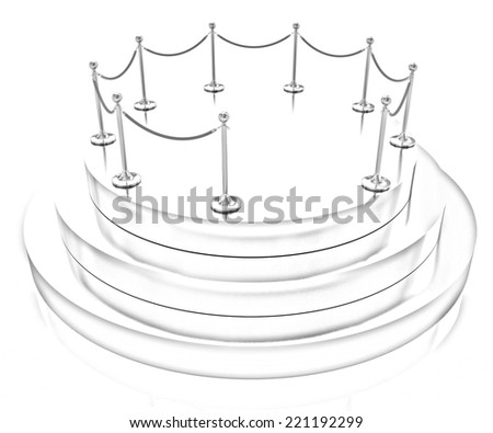 Gold podium 3d on a white background. Pencil drawing  - stock photo