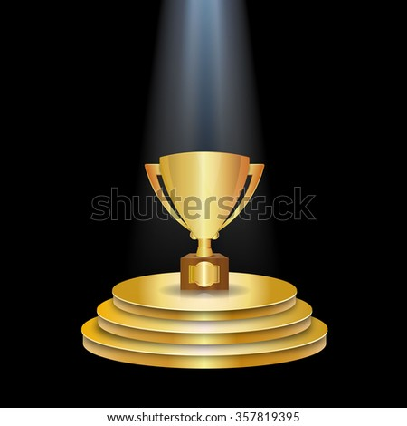 Gold Podium With Trophy Cup - stock photo
