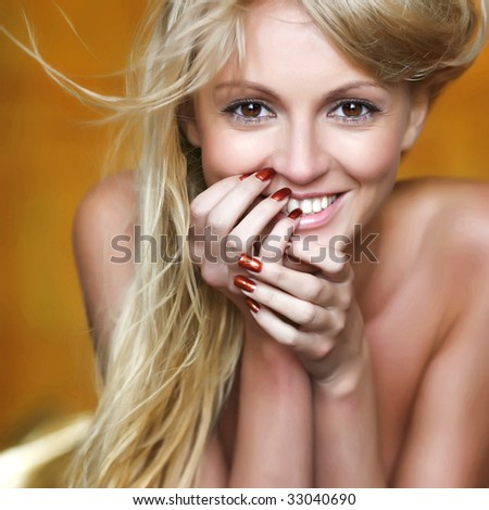 Gold portrait the beautiful girl with light hair - stock photo