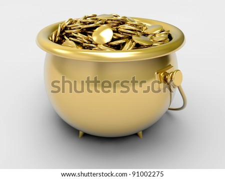 Gold pot with gold coins - stock photo