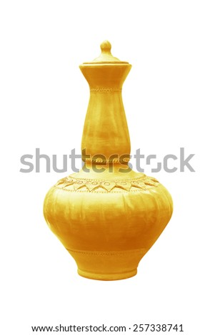 gold pottery on a white background - stock photo