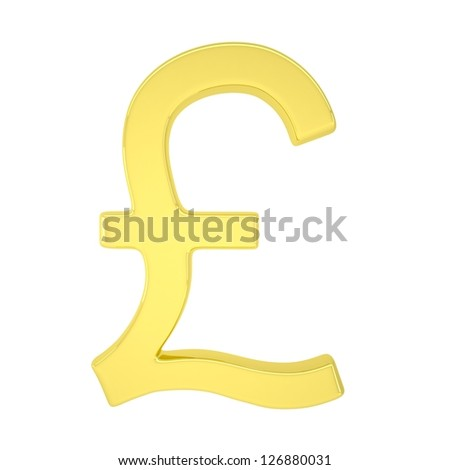 Gold pound. Isolated render on a white background - stock photo