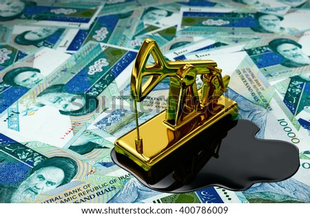 Gold Pumpjack And Spilled Oil Over Iranian Rials. 3D Illustration.