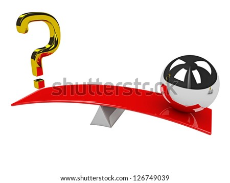 Gold question mark and metal sphere on scales - stock photo