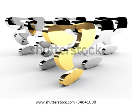 gold question-mark mark leadership conception - stock photo