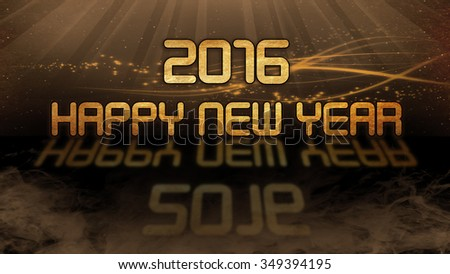 Gold quote with mystic background - 2016, happy new year - stock photo