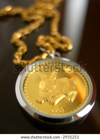 Gold Rabbit necklace as Chinese Astrology