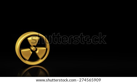 Gold radiation symbol on black background with reflection and copyspace. Good for warning slide with text - stock photo