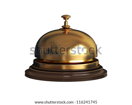 Gold Reception bell on white background
